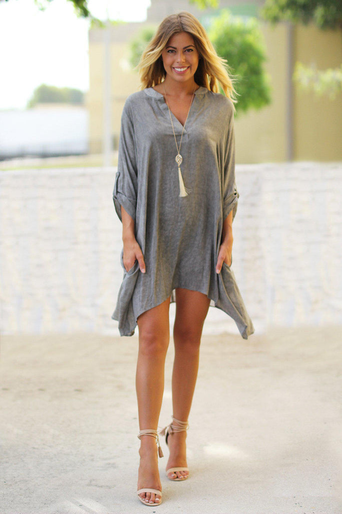 gray tunic with pockets