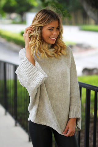 Gray Turtle Neck Sweater with Bell Sleeves