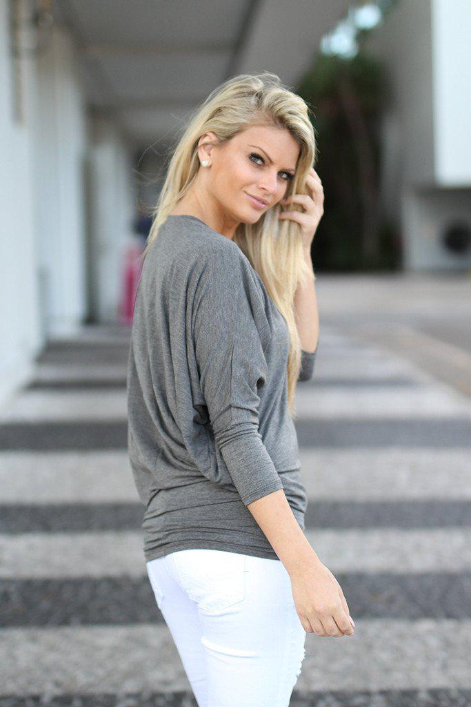 Charcoal V-Neck Dolman Top