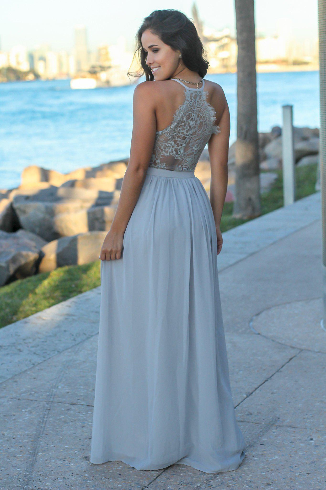 Gray V-Neck Maxi Dress with Lace Back