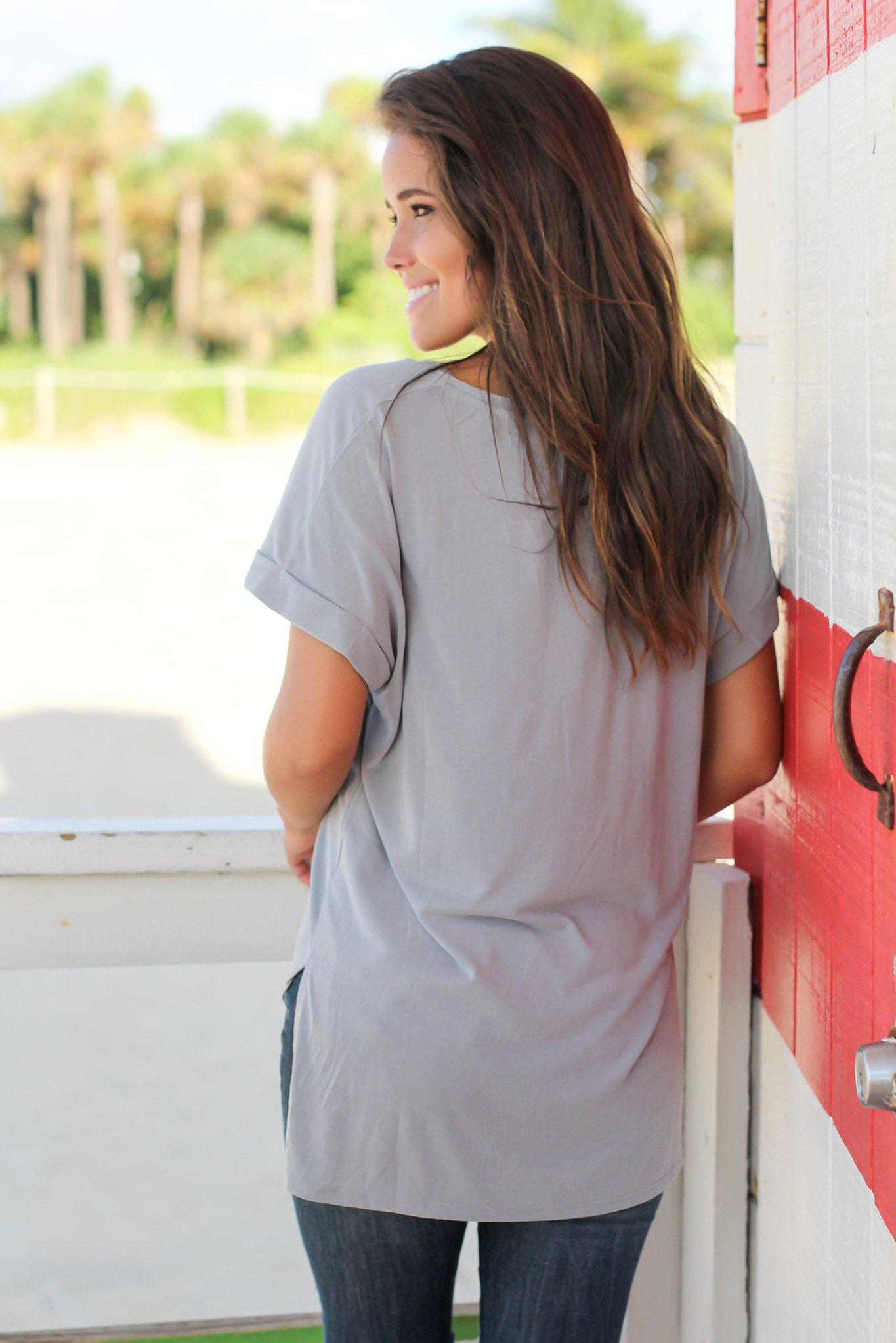 Gray V-Neck Top with Pocket