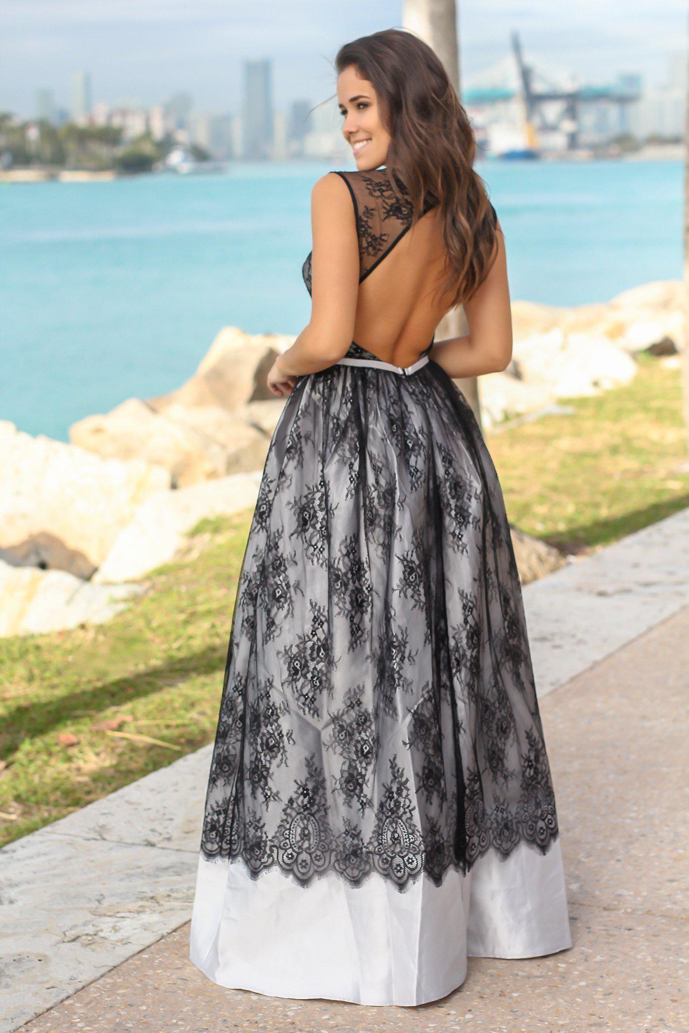 Gray and Black Lace Maxi Dress