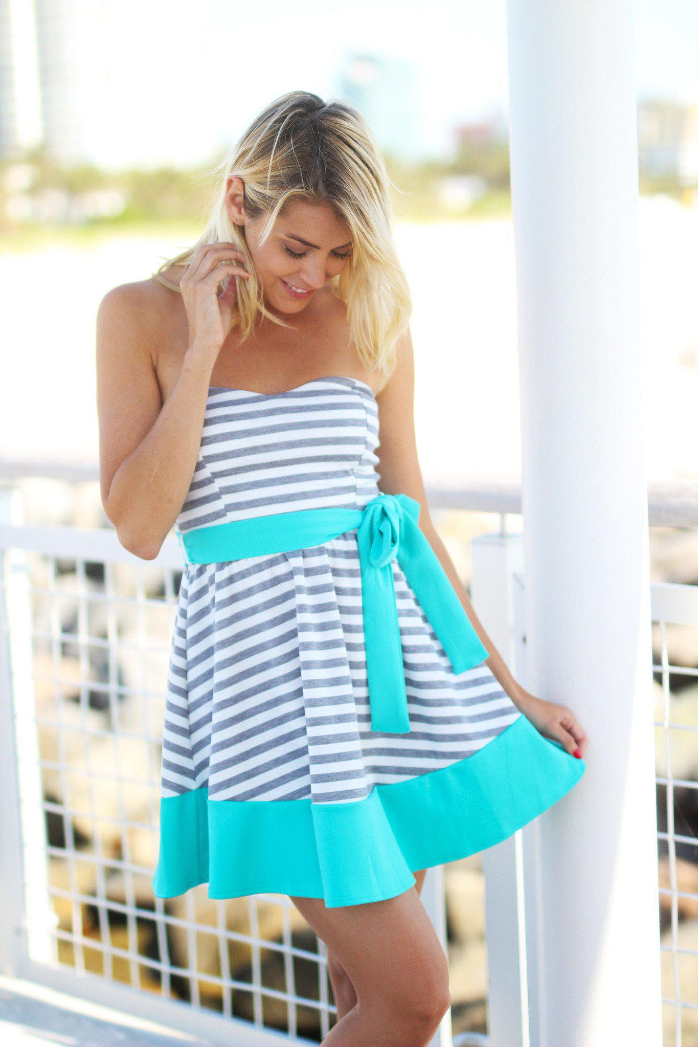 Gray and Jade Striped Dress