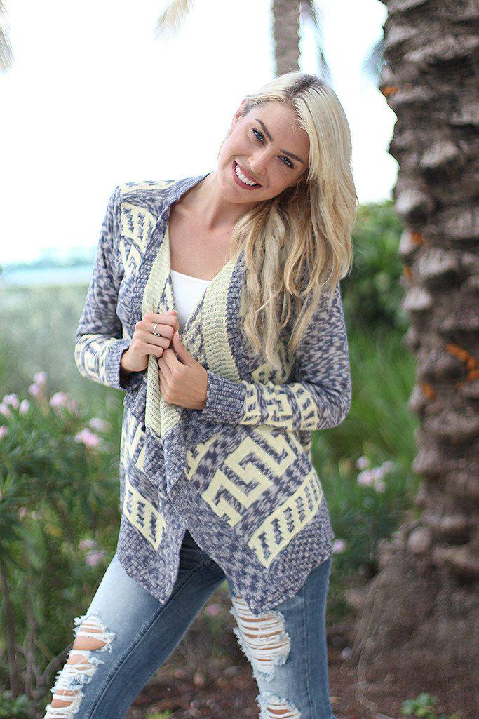 Gray and Lemon Cardigan