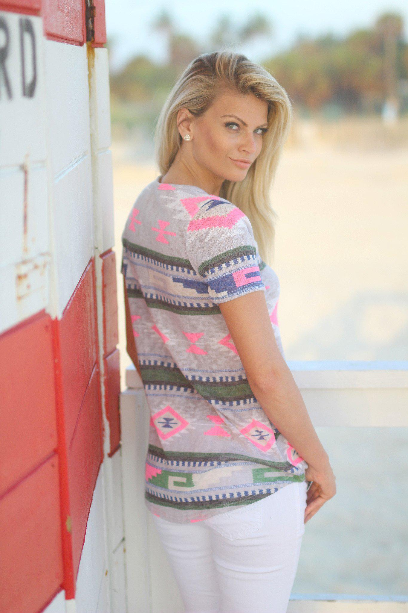Gray and Neon Pink Aztec Top