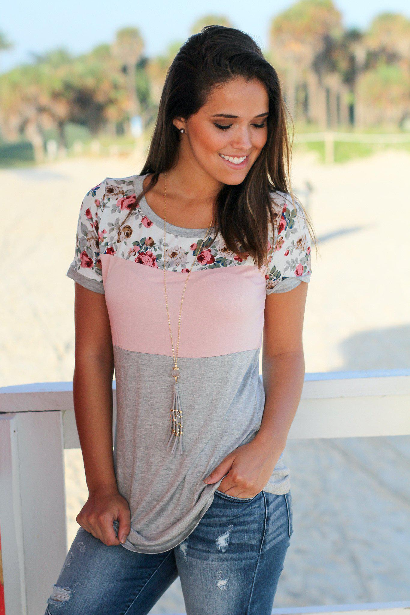 Gray and Pink Floral Top
