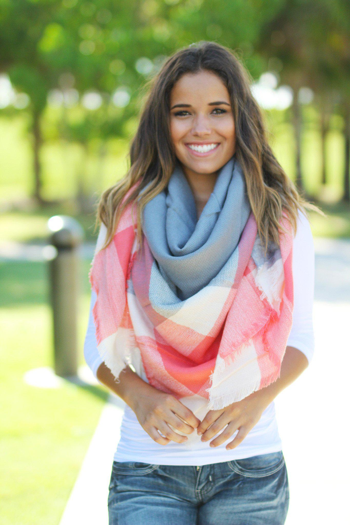 Gray and Coral Scarf