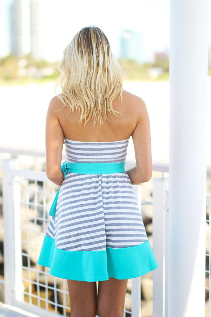 striped gray and jade short dress