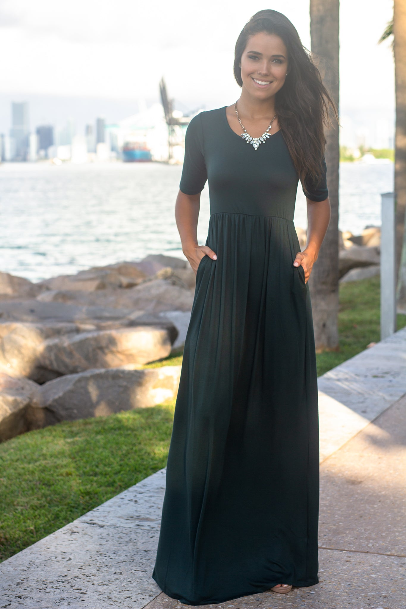 Green 1/2 Sleeve Maxi Dress with Pockets