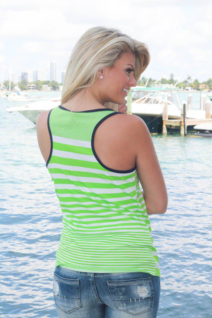 Green And Navy Striped Tank Top