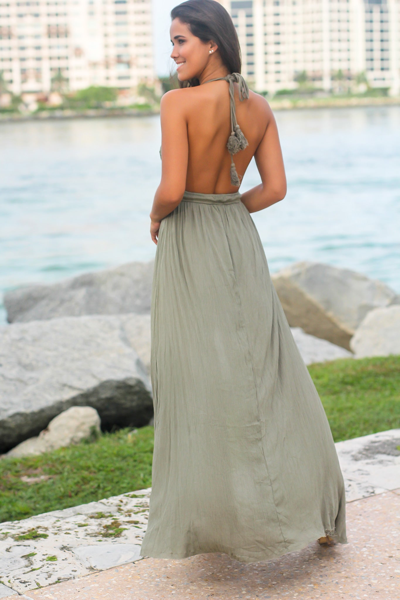 Green Crochet Halter Neck Maxi Dress