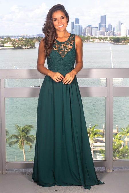 Green Crochet Maxi Dress with Open Back