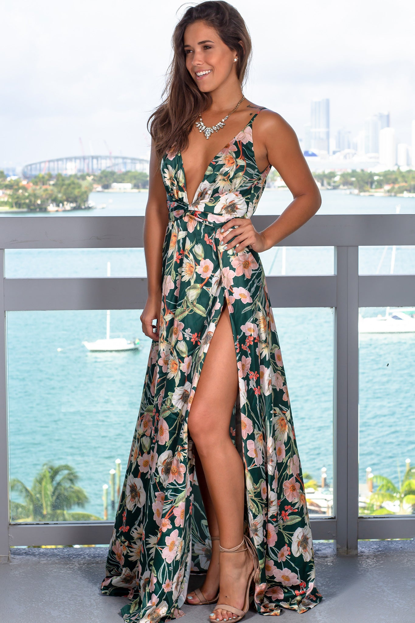 Green Floral Maxi Dress with Slits