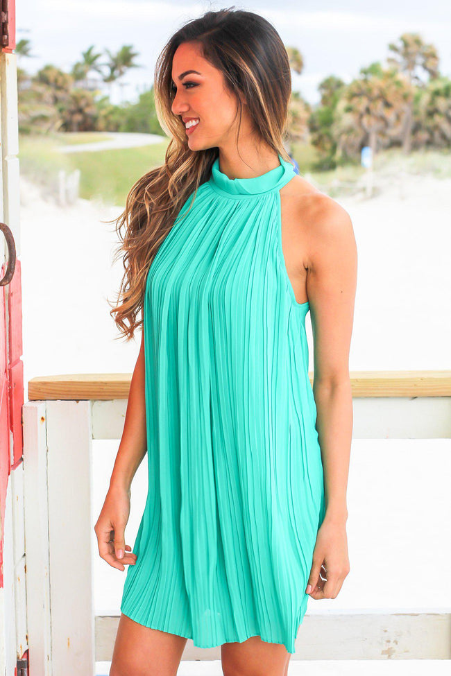 Green High Neck Pleated Dress