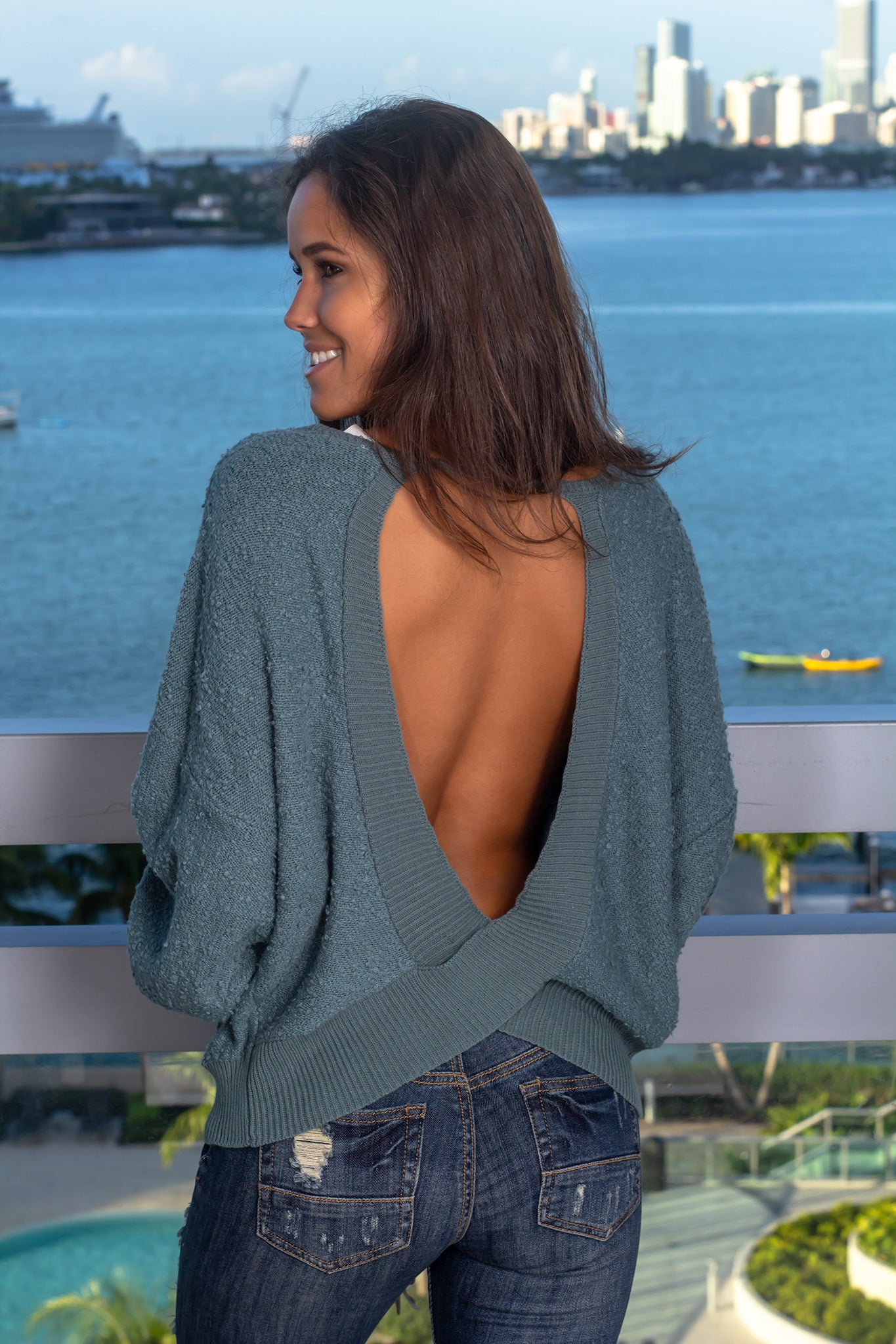 Green Knit Sweater with Open Back