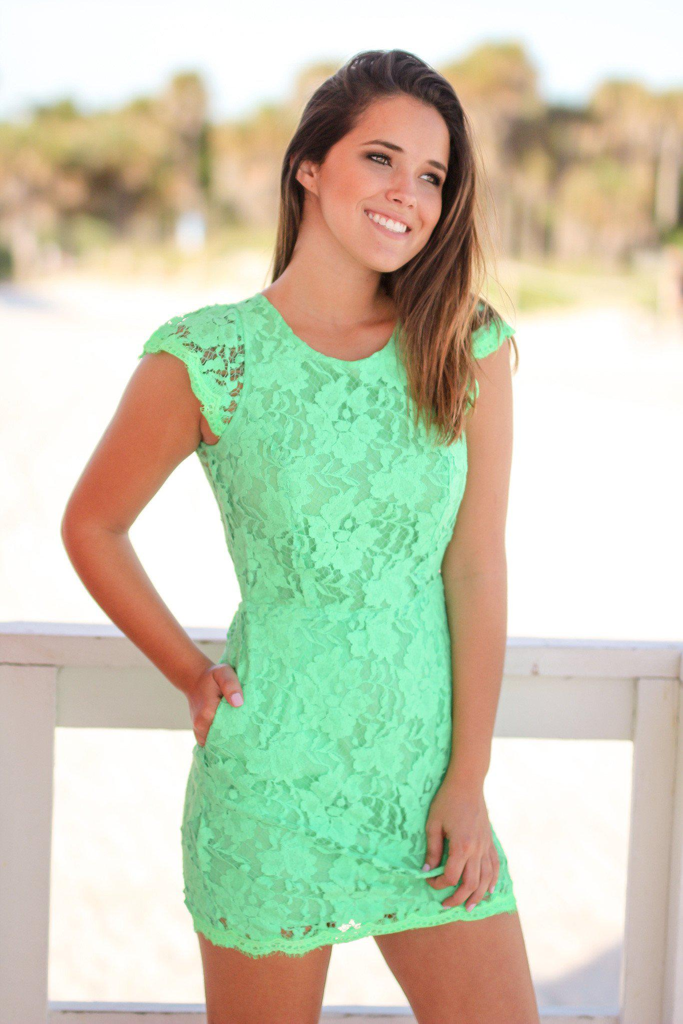 Green Lace Dress with Pockets