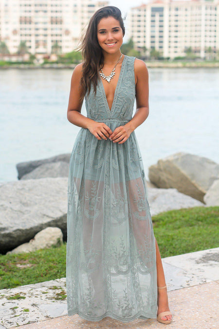 Green Lace Sleeveless Maxi Romper