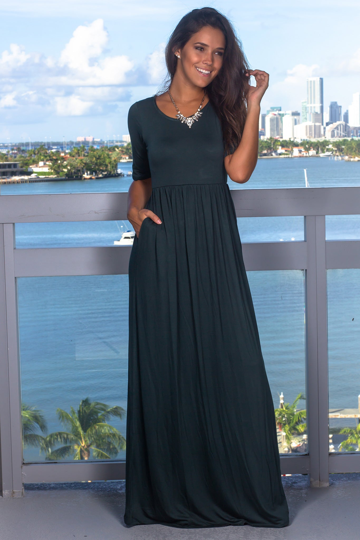 Green Maxi Dress with 1/2 Sleeves