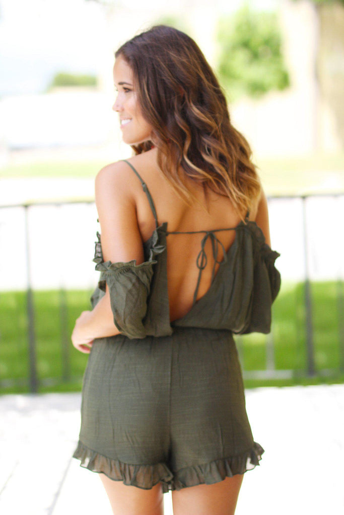 Olive Open Shoulder Romper