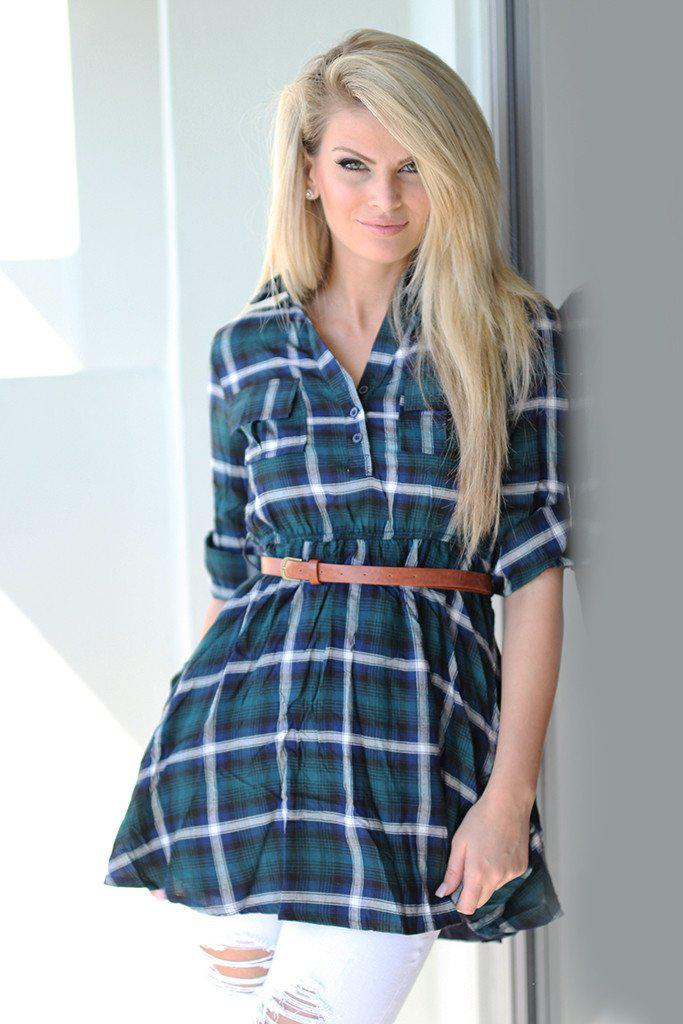 plaid green tunic dress