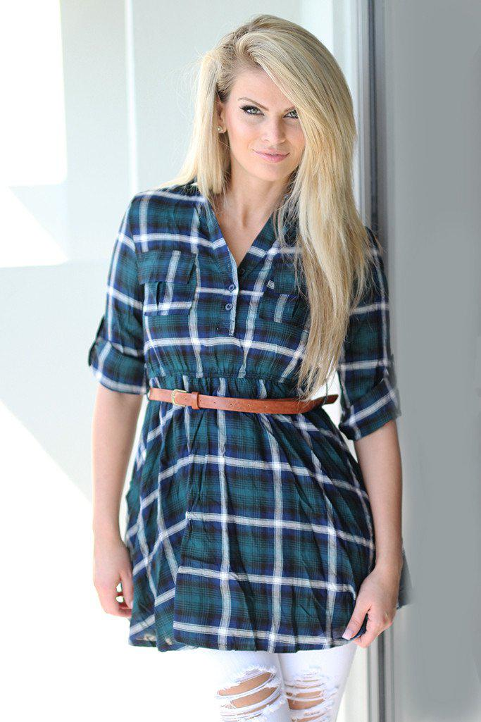 plaid tunic with belt