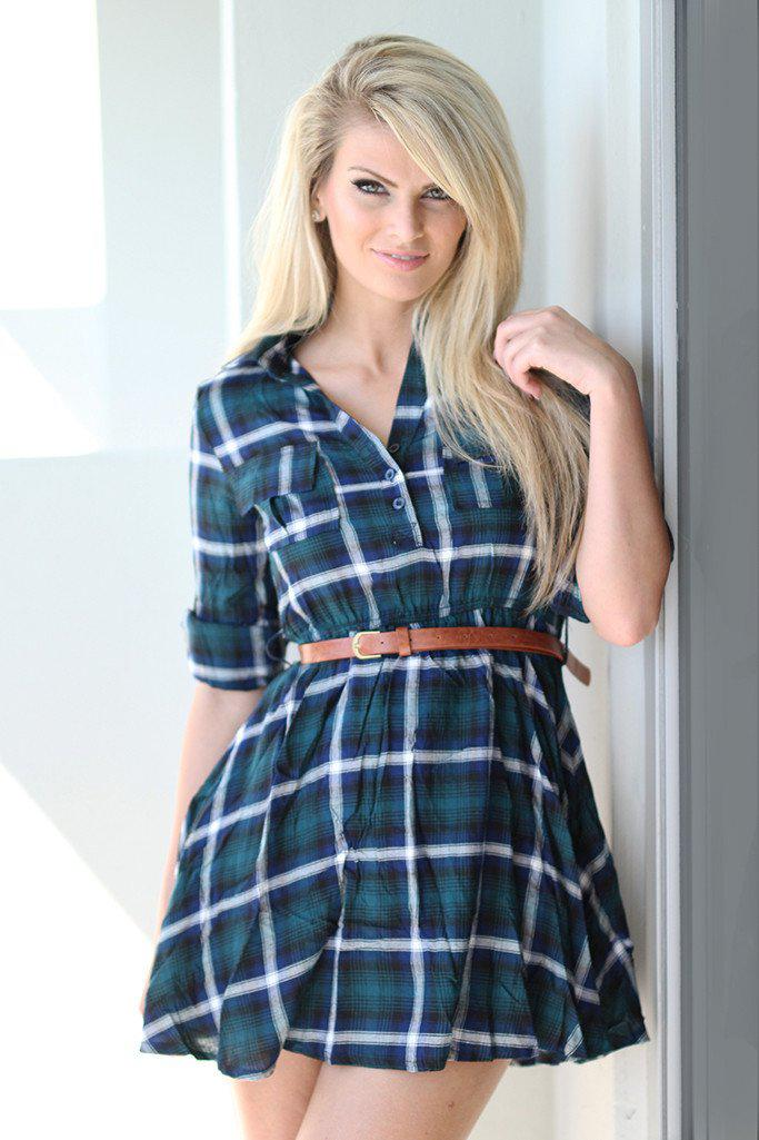 green plaid tunic dress with belt