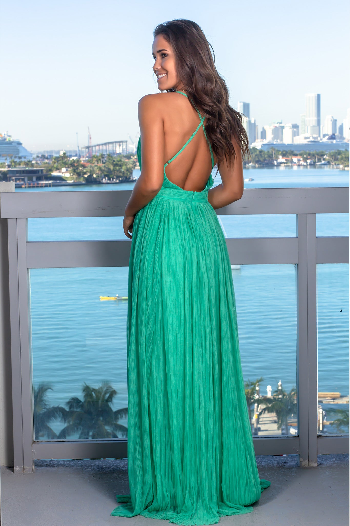 Green Pleated Maxi Dress with Criss Cross Back