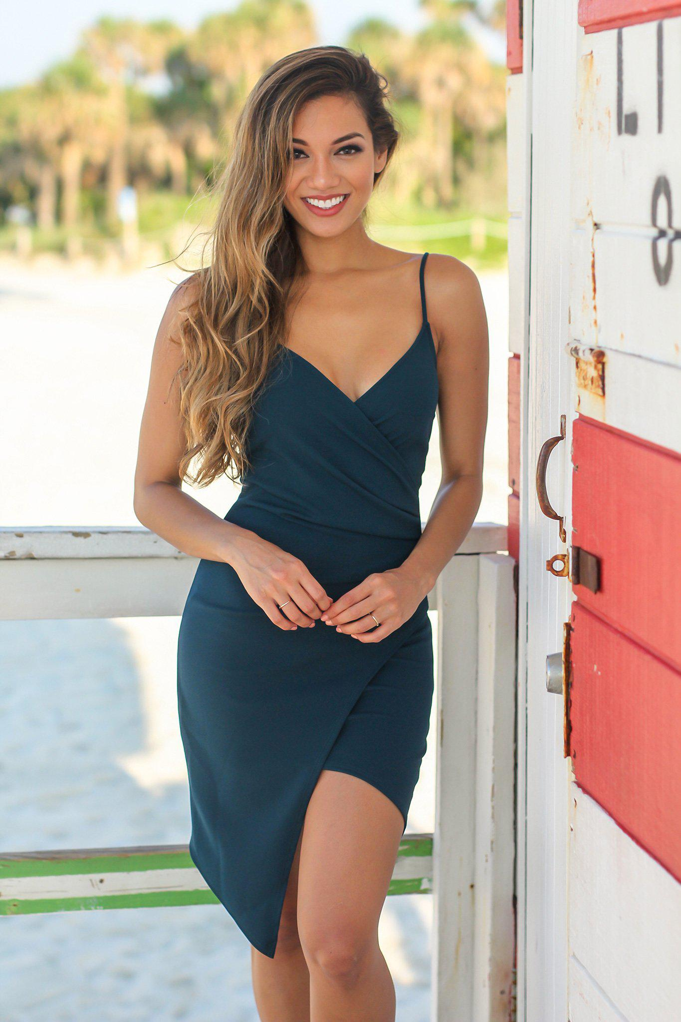 Green Short Dress with Ruched Side