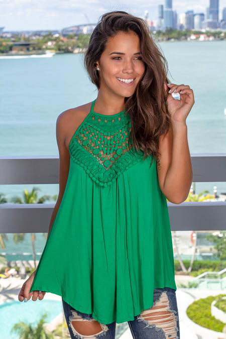 Green Sleeveless Top with Crochet Detail