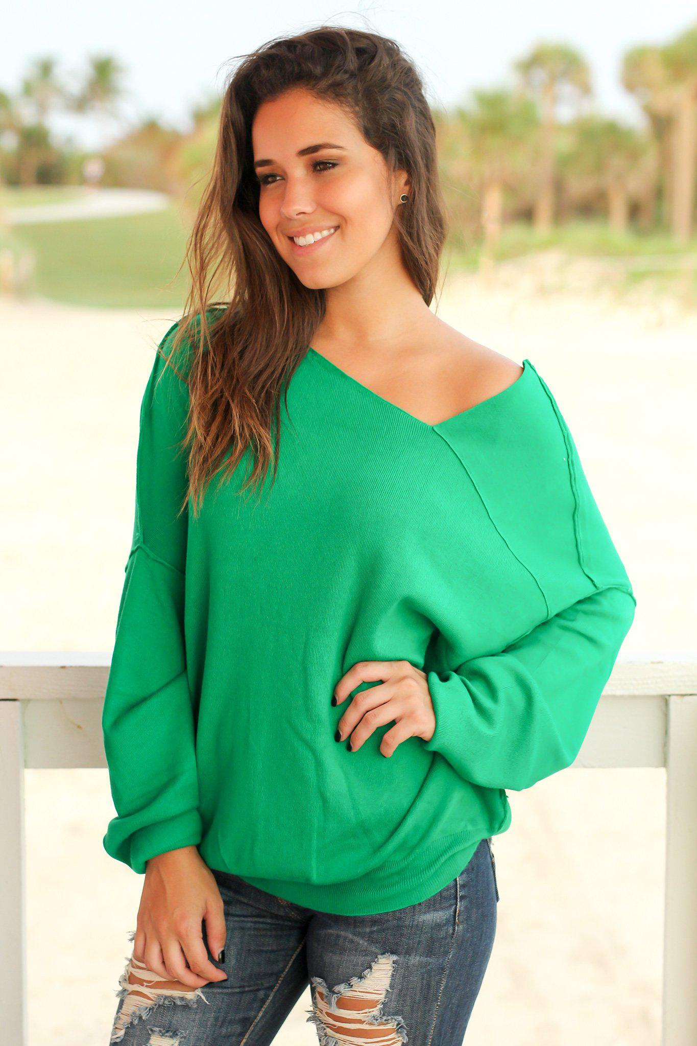 Green Sweater with Asymmetrical Hem