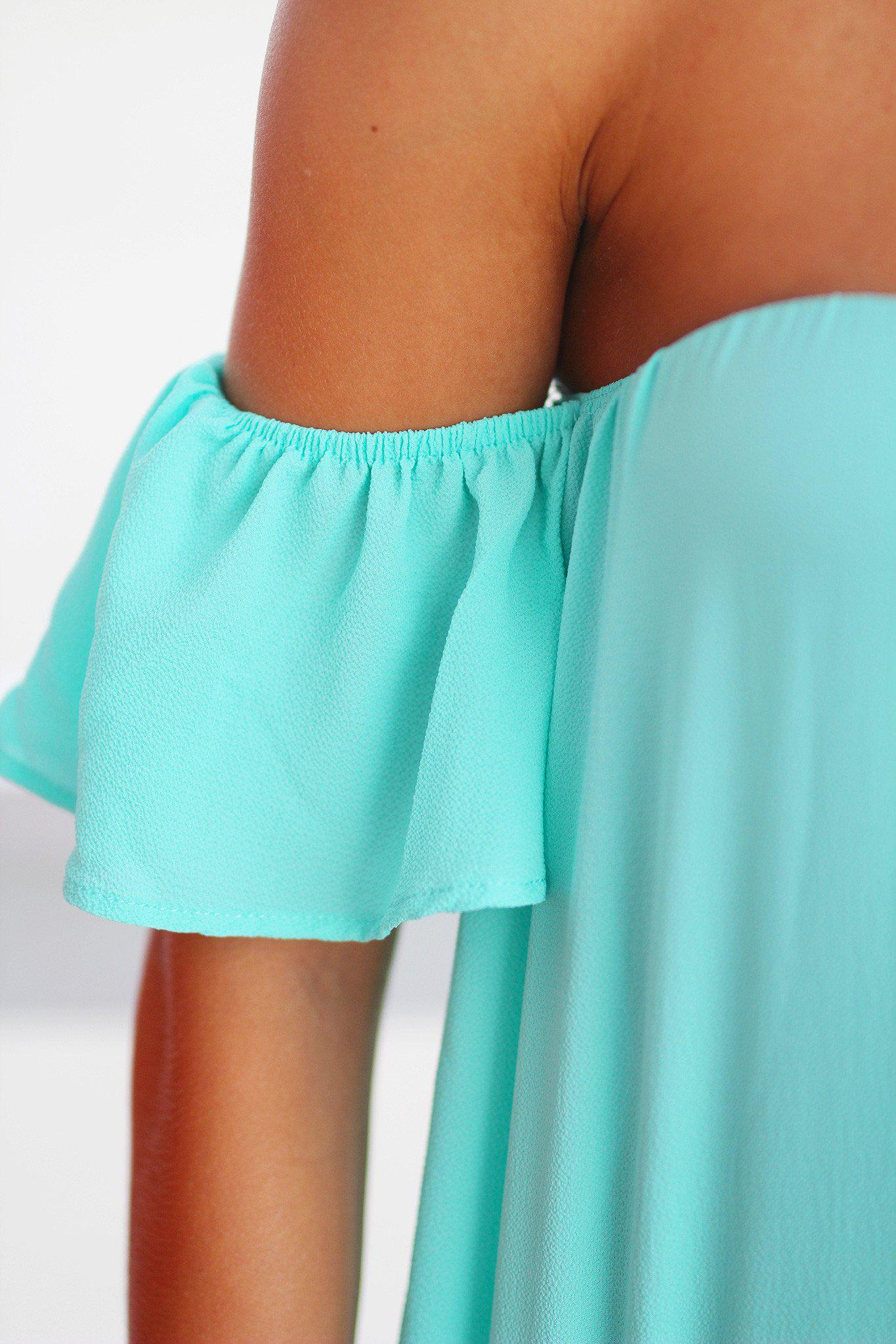 Mint Off Shoulder Top