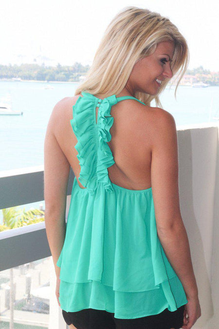 Emerald Green Top With Ruffle Back
