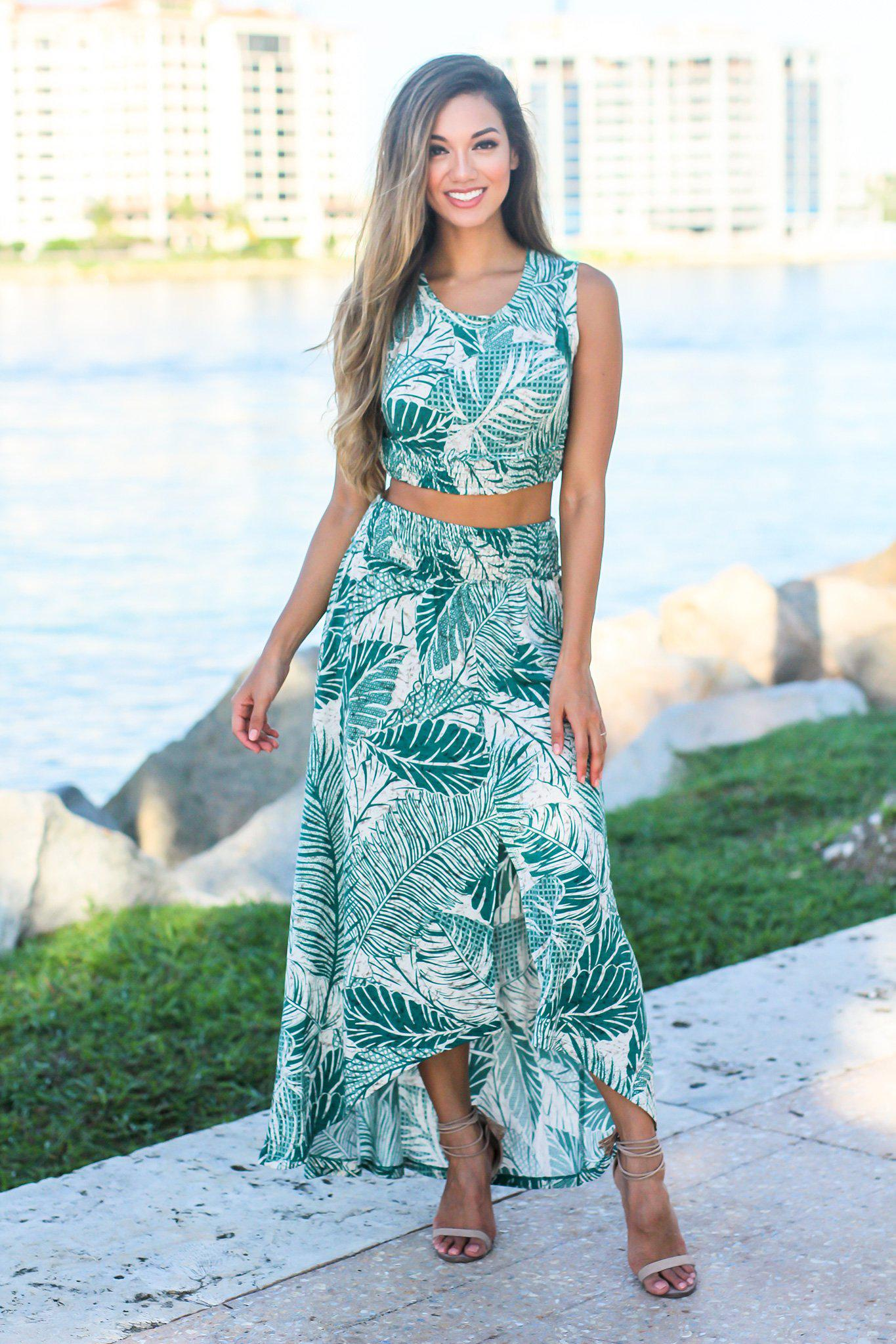 Green Tropical Print Two Piece Set