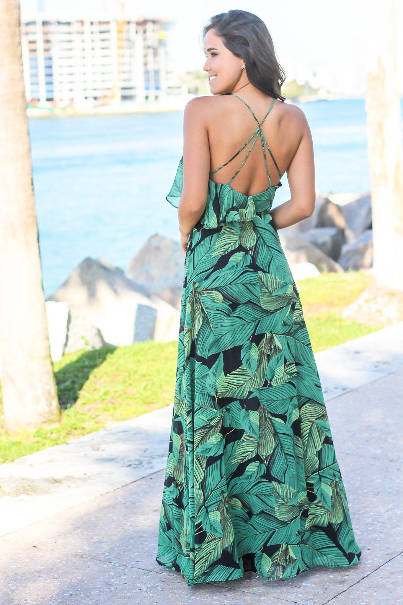 Green Tropical Wrap Dress