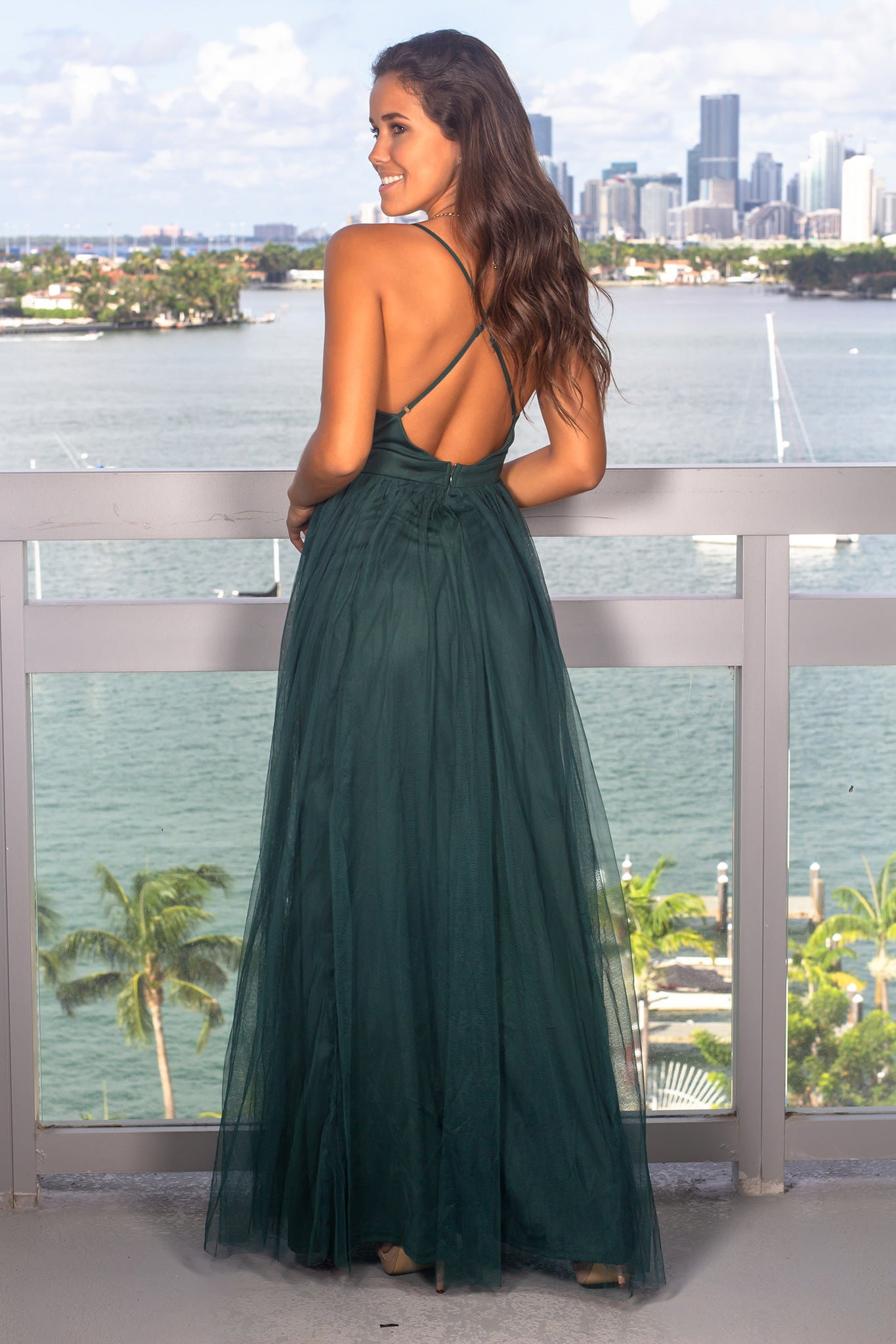 Green Tulle Maxi Dress with Criss Cross Back