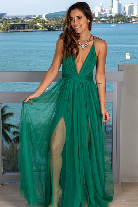 Green V-Neck Tulle Maxi Dress with Criss Cross Back