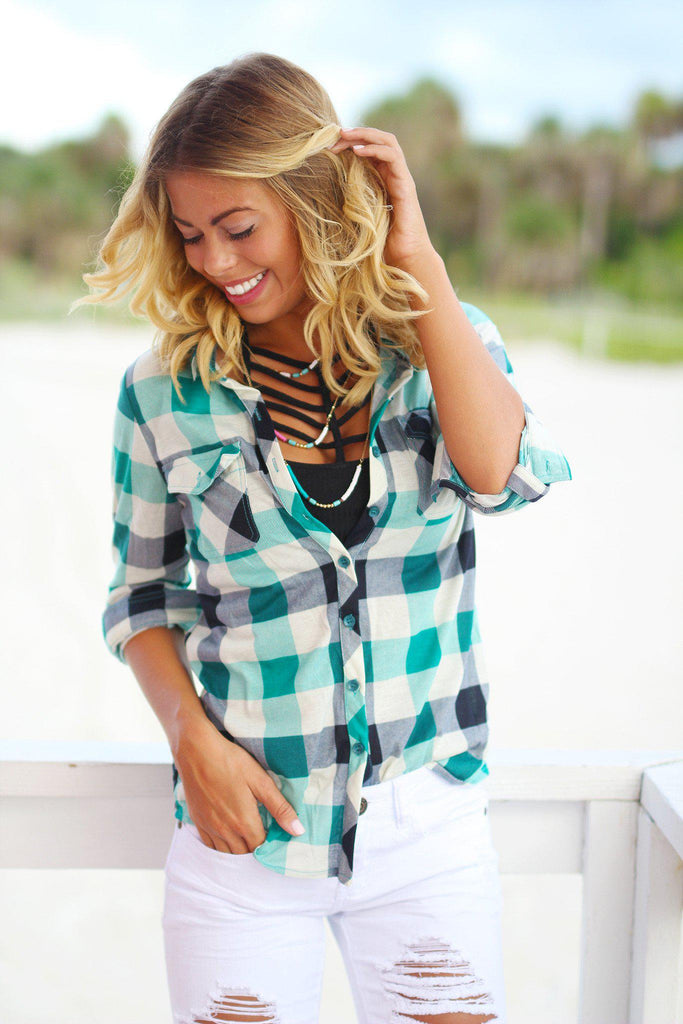 Green Plaid Top