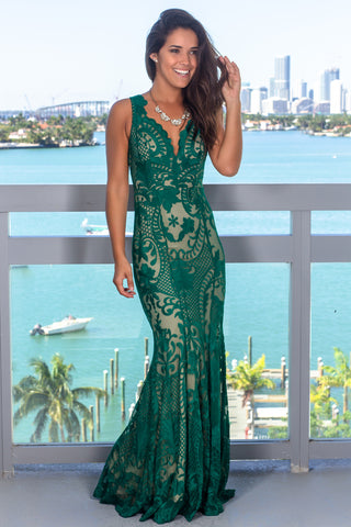 0871c369983ad Green and Nude Embroidered Maxi Dress