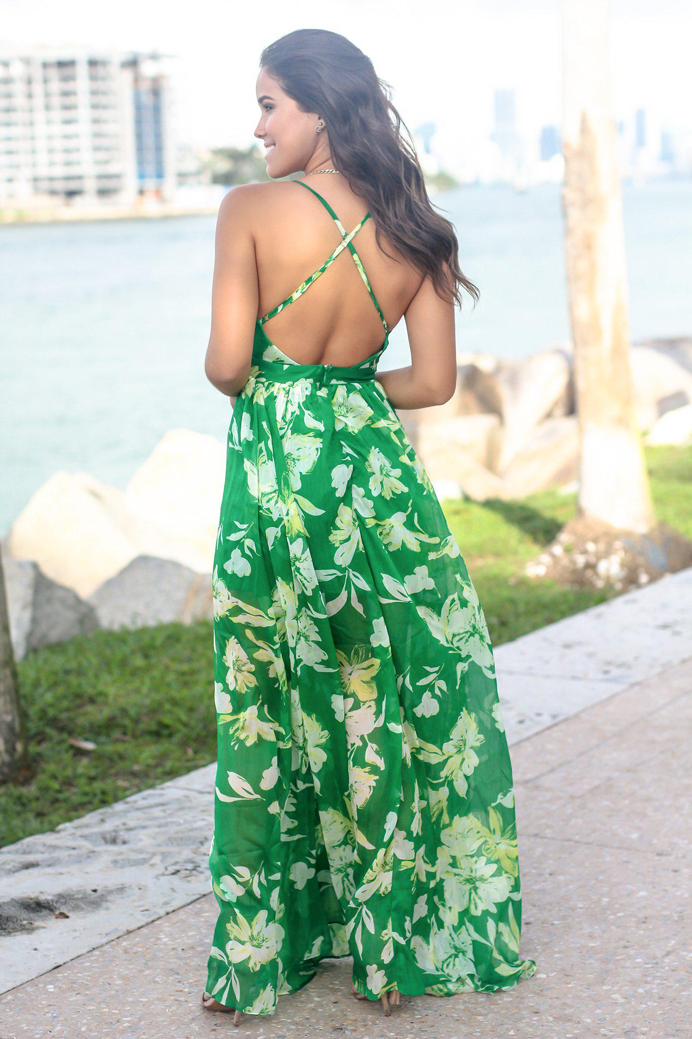 Green and Yellow Floral Maxi Dress with Criss Cross Back