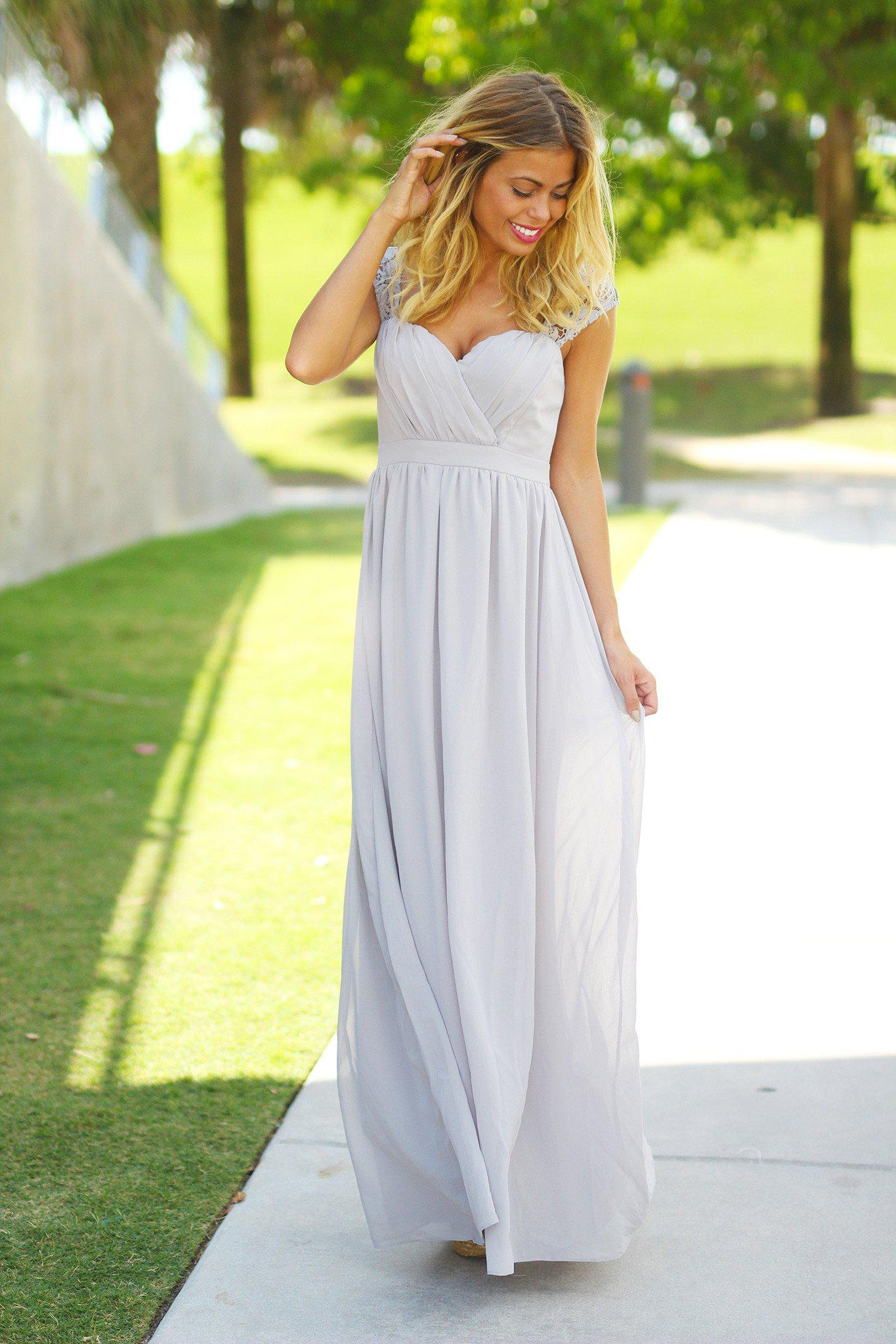Gray Bridesmaid Maxi Dress