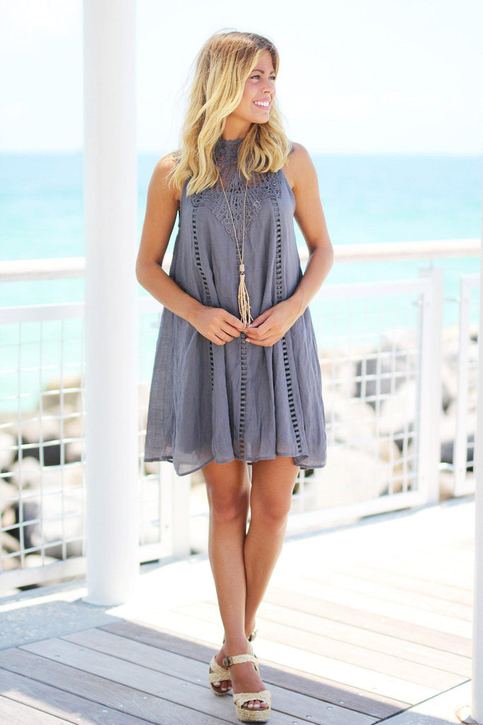 charcoal crochet short dress