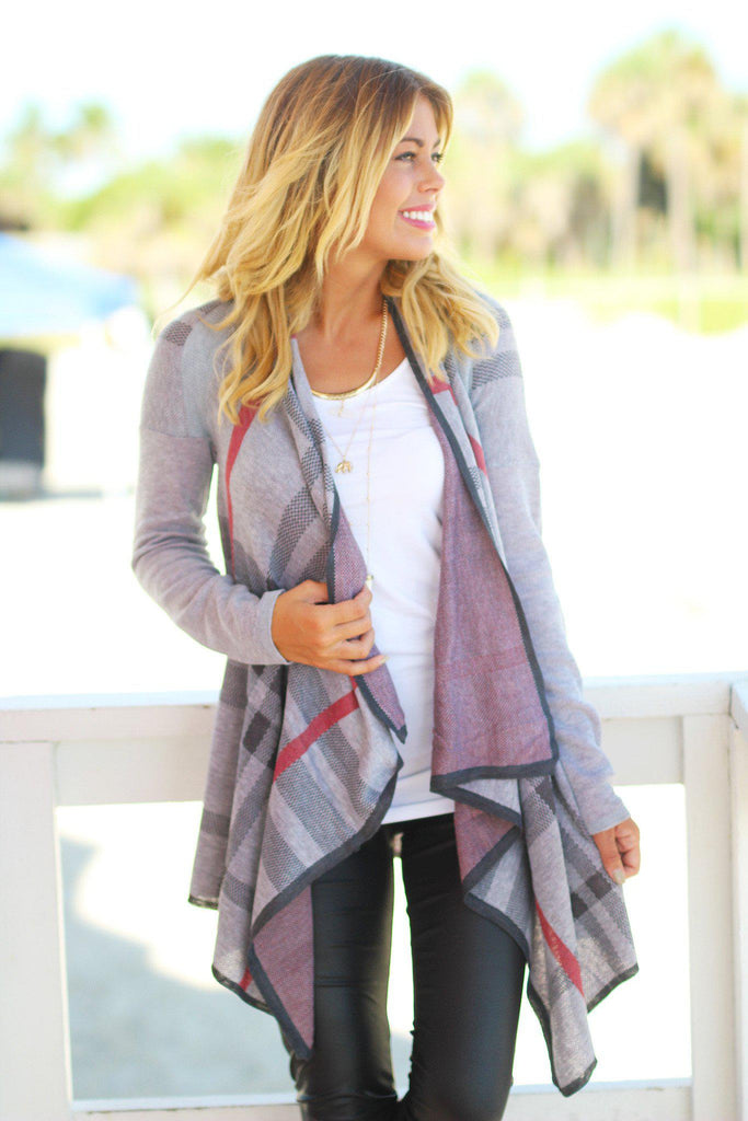 gray open front cardigan