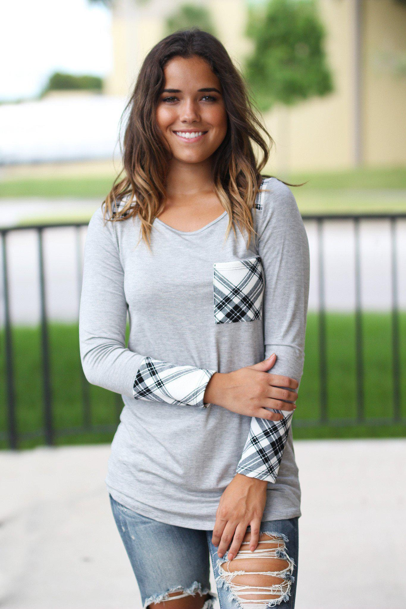 Gray Plaid Top