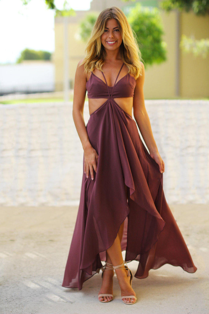 Dusty Wine High Low Dress