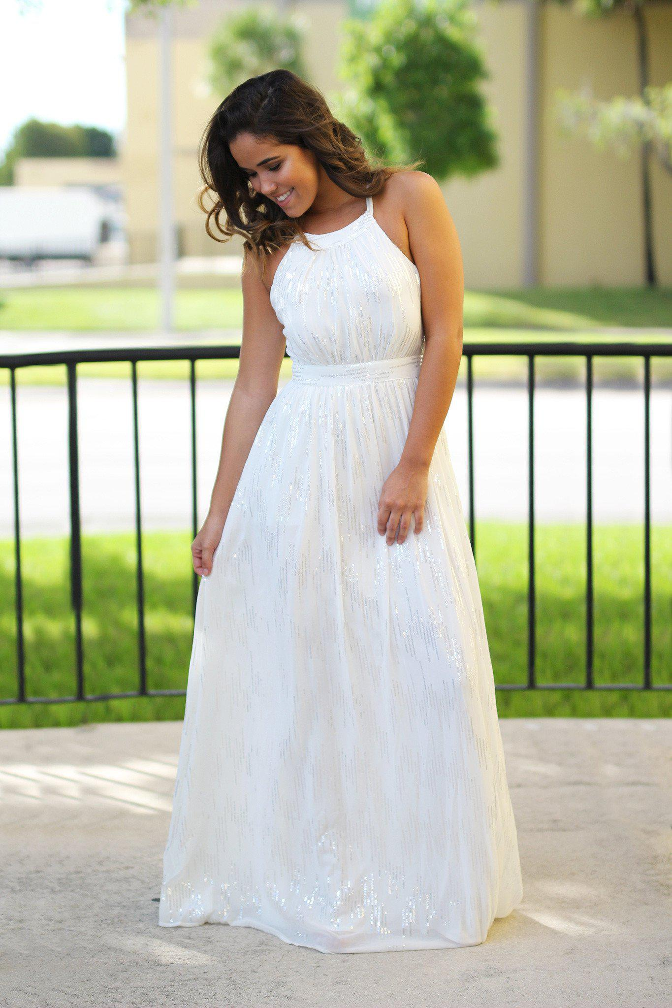 Off white maxi dress with sequins off white dress bridesmaid off white wedding dress ombrellifo Choice Image