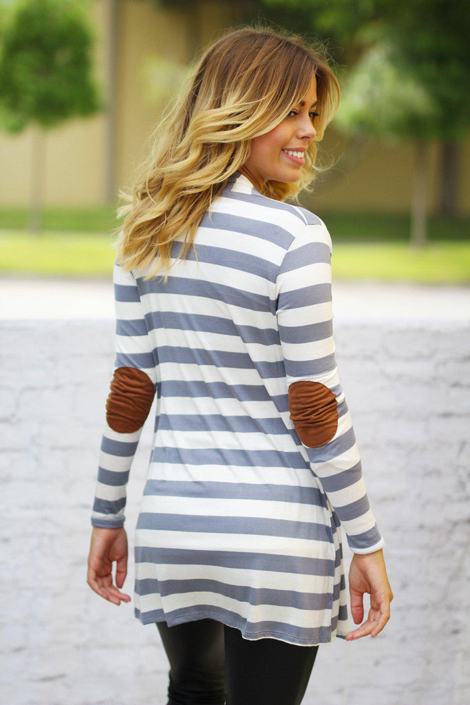 Heather Gray Striped Cardigan