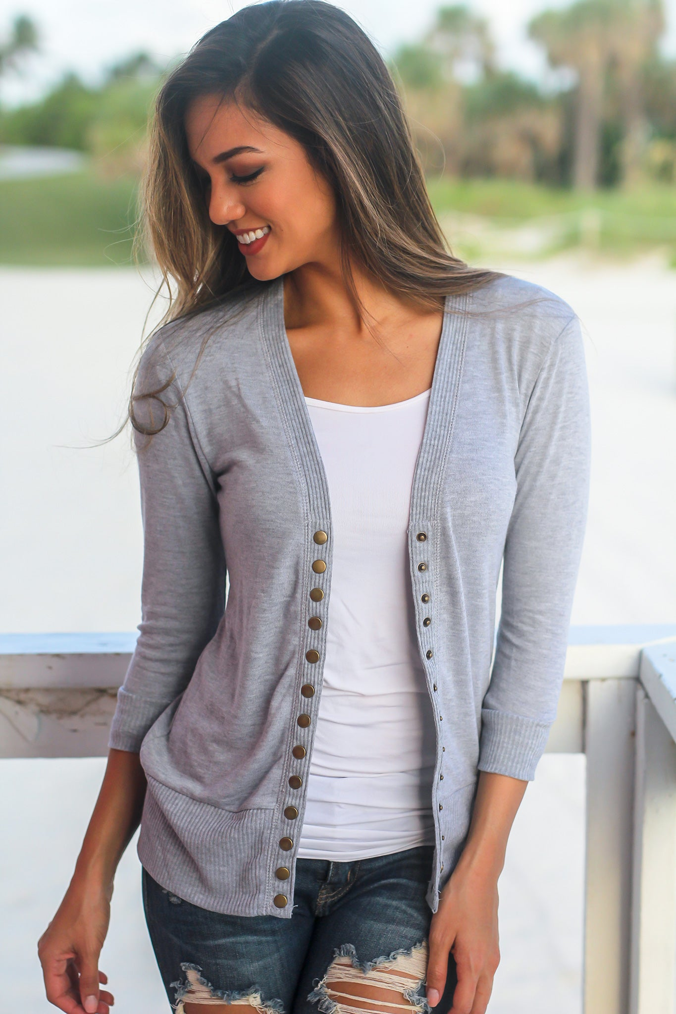 Heather Gray Cardigan with 3/4 Sleeves