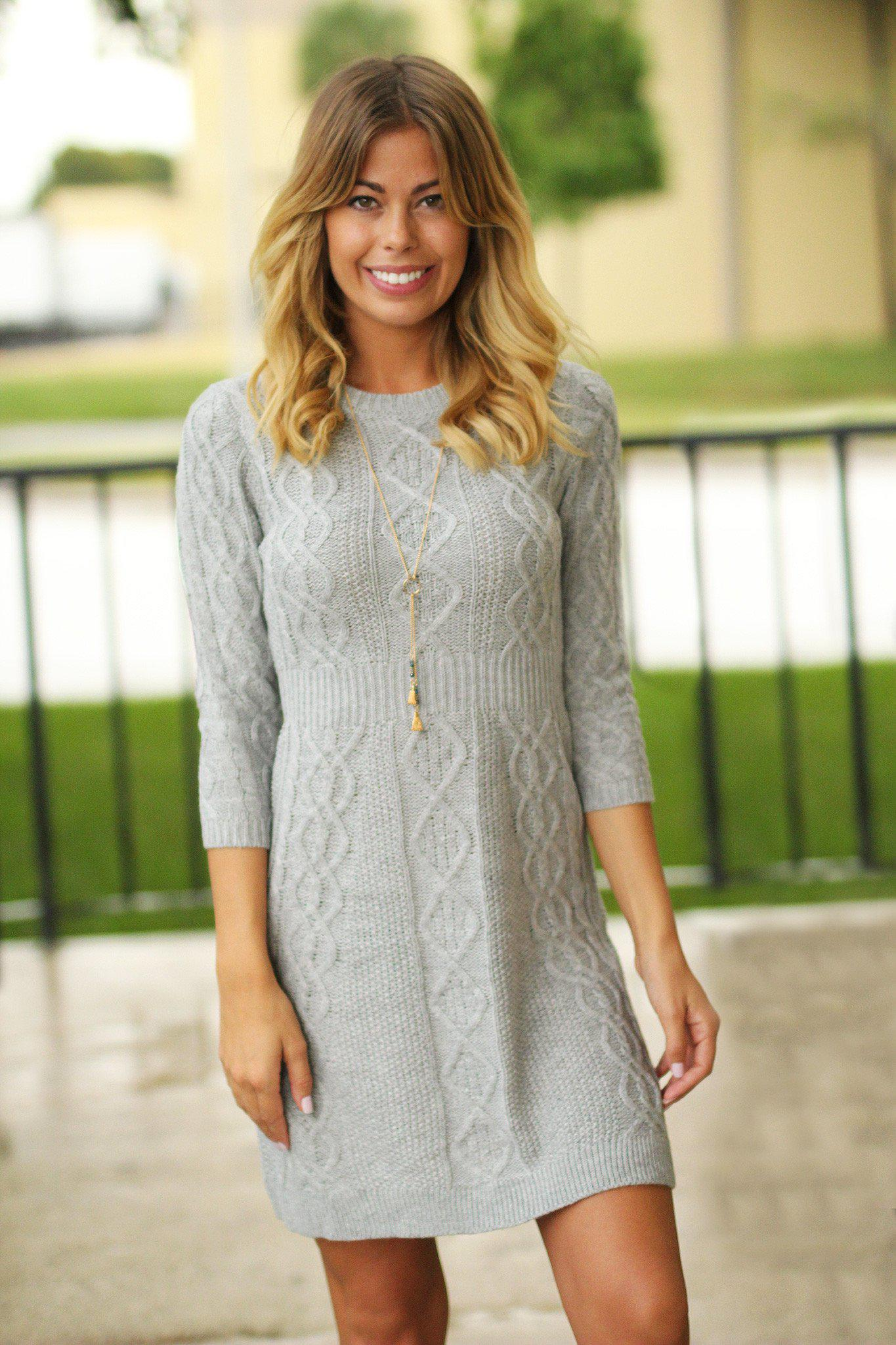 heather gray long sleeve dress