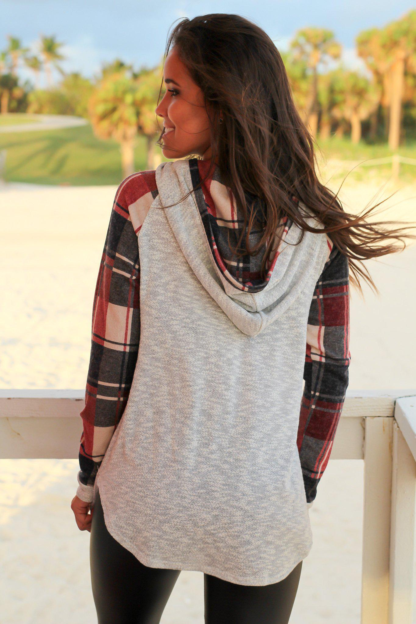 Heather Gray Hoodie with Plaid Sleeves