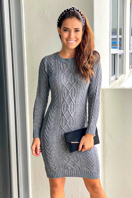 Heather Gray Knit Midi Dress